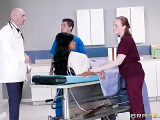 Buxom dark-hued woman take a adorable tat, Mary Jean is pulling their way doctor's monumental man-meat, in his office