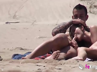 Beach Dogging! Ainara fucks a voyeur coupled with a coupling joins them