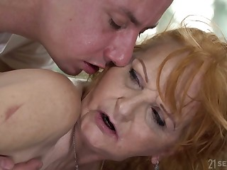 Lewd take charge superannuated whore gives masseur a blowjob before doggy fuck