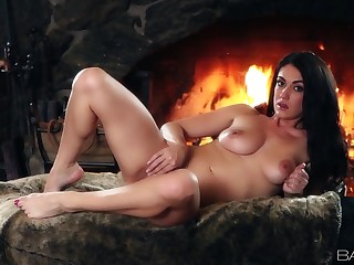 Hottie drops her panties and fingers her tight cunt