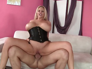 Monumental boobs Karen Fisher plays with hard cock before rough fuck