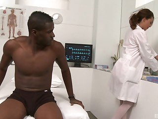 Black dude gets his dick sucked increased by ridden by nurse Layla Rivera