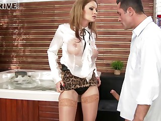Oomph pornstar Abbie Cat makes her leash slave respect her