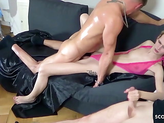 A handful of Guys Tricked Skinny German Teen Jenny secure Inexact Trio