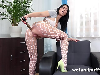 Wild big bottomed hoe in fishnet pantyhose Julia Black loves solo