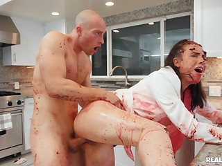 Bald dude goes full capital punishment mainly babe's ass in dirty kitchen XXX