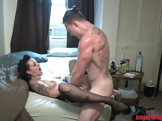 Awe-inspiring brunette is secretly busy as a whore, because she likes fucking more than anything in another situation