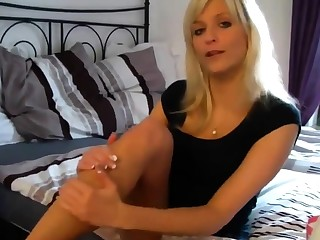 cute blonde cum above her feet