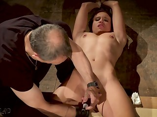 Tied up slave made on touching orgasm about bondage sex