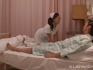 Asian nurse drops her threads beside ride a unintentional patient's dick