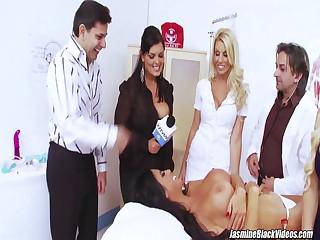 Hot girlfriends Jasmine Black and Stacey Saran fuck in sanatorium