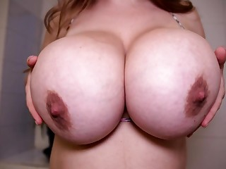 Blonde with monster tits in solo bathroom boob play