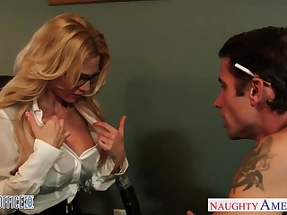 Milf boss Sarah Jessie is fucked by several her workers right on the table
