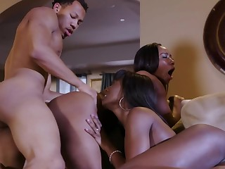 Two Felonious hussies share a huge black dick in wild triumvirate