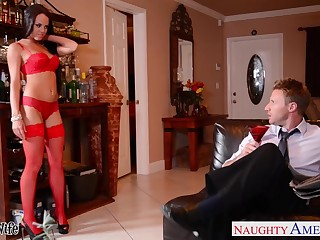 Wife's friend in provocative lingerie Rahyndee James offers ourselves
