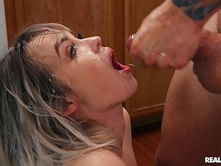 Hardcore shafting ends with a facial for small tits Lilly Bell