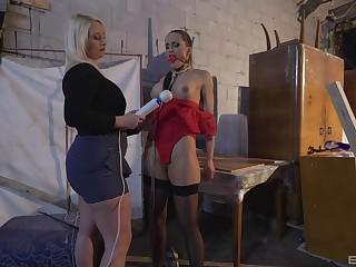 Submissive babe endures harsh femdom XXX