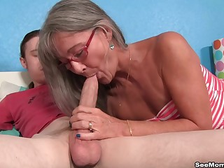 Nude adult shakes cock in her mouth