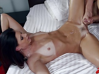Horny MILF India Summer with tan lines enjoys riding a stiff dick